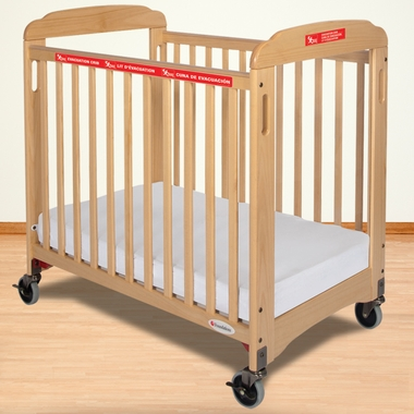 Foundations First Responder Evacuation Compact Crib Fixed Side Clearview with Evacuation Frame in Natural