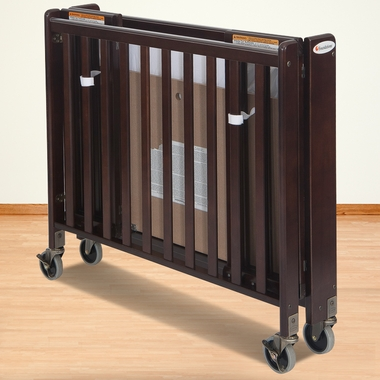 Foundations HideAway Folding Fixed Side Compact Crib in Antique Cherry - Click to enlarge