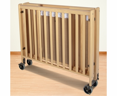 Foundations HideAway Folding Fixed Side Compact Crib in Natural