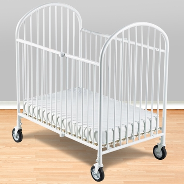Foundations Pinnacle Folding Compact Steel Crib with Foam Mattress in White