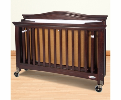 Foundations Royale Folding Fixed Side Full Size Crib in Antique Cherry