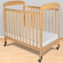 Foundations Serenity Compact Fixed Side Clearview Crib in Natural