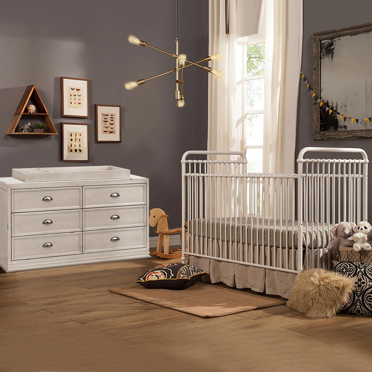 Franklin U0026 Ben Abigail 2 Piece Nursery Set   Convertible Crib In Washed  White And Mason Double Dresser In Distressed White FREE SHIPPING