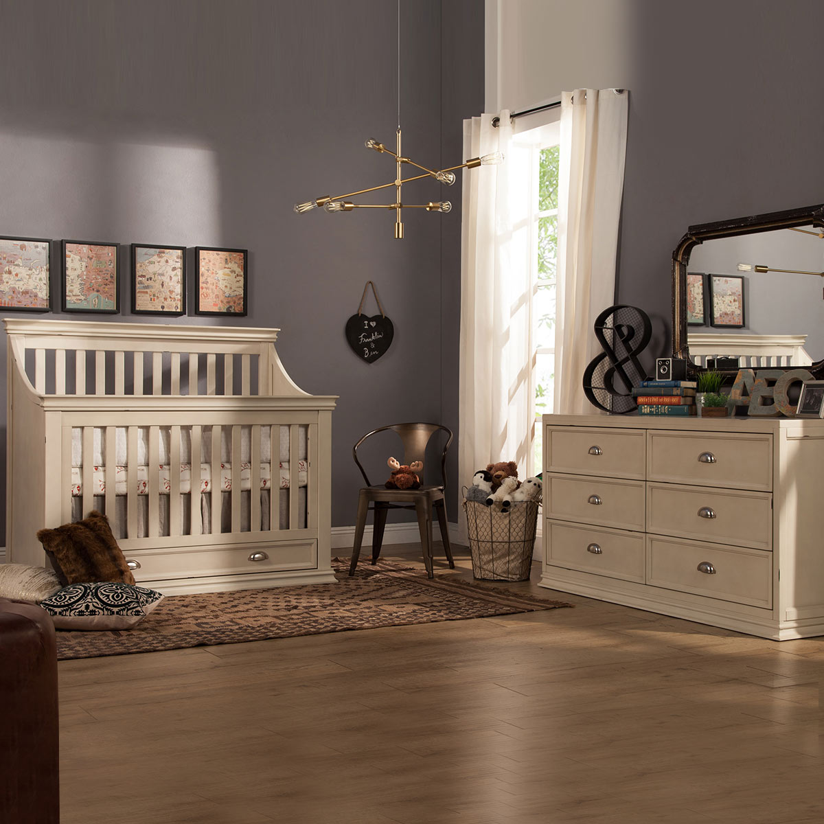 Franklin U0026 Ben Mason 2 Piece Nursery Set   4 In 1 Convertible Crib And  Double Wide Dresser In Distressed White FREE SHIPPING