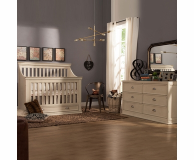 Franklin & Ben Mason 2 Piece Nursery Set - 4-in-1 Convertible Crib and Double Wide Dresser in Distressed White