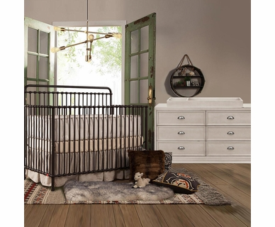 Franklin & Ben Winston 2 Piece Nursery Set - Convertible Crib in Vintage Iron and Mason Double Dresser in Distressed White