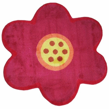 "Fun Rugs Pink Poppy High Pile Rug 39"" x 33"""