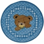Fun Rugs Teddy Center Blue Extra High Pile Hand-Carved Round Rug 39""