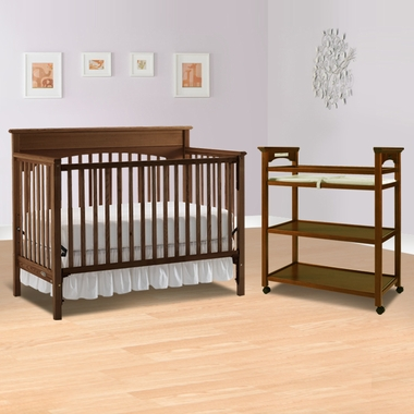 Graco Cribs 2 Piece Nursery Set Lauren Convertible Crib And Mission Changing Table In Walnut