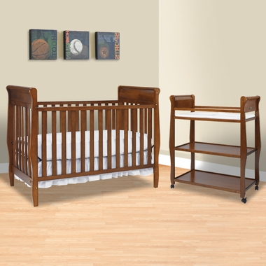 Graco Cribs 2 Piece Nursery Set Sarah Convertible Crib And Changing Table In Cinnamon