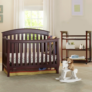 Graco Cribs 2 Piece Nursery Set Suri Convertible Crib And Mission Changing Table In Cherry