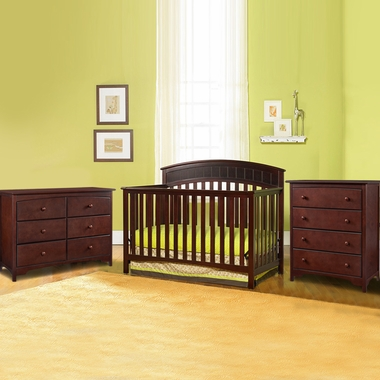 Graco Cribs 3 Piece Nursery Set Charleston Convertible Crib 6 Drawer Double Dresser And