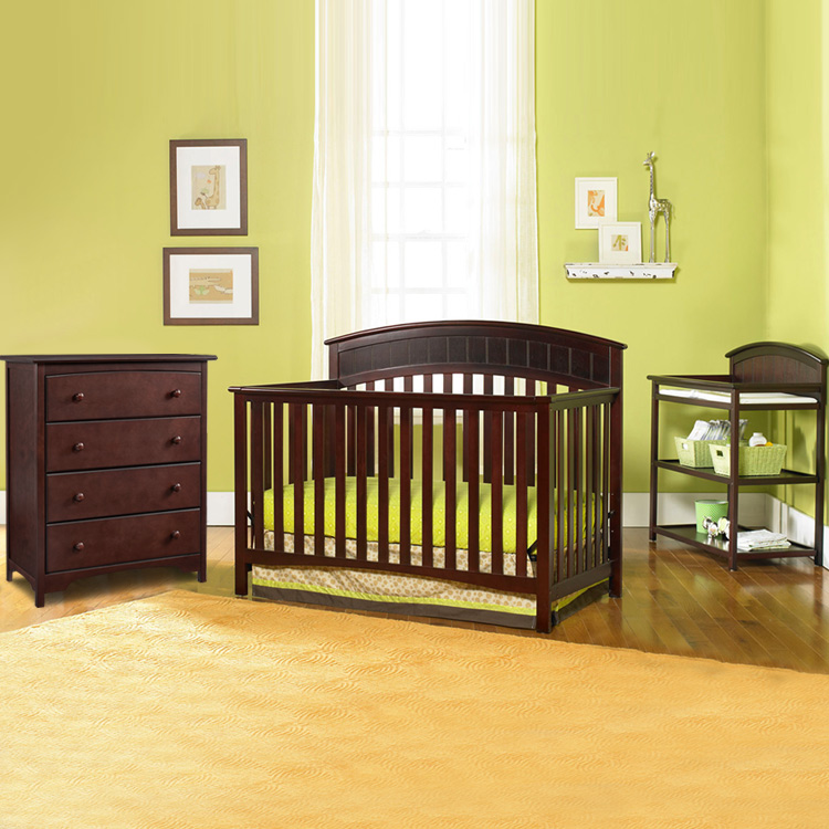 Graco Cribs 3 Piece Nursery Set Charleston Convertible Crib Changing Table And 4 Drawer Dresser In
