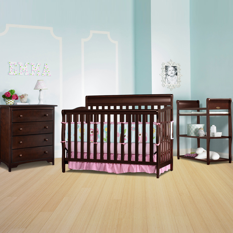 Graco Cribs 3 Piece Nursery Set Stanton Convertible Crib Sarah Changing Table And 4 Drawer Dresser In Cherry Free Shipping