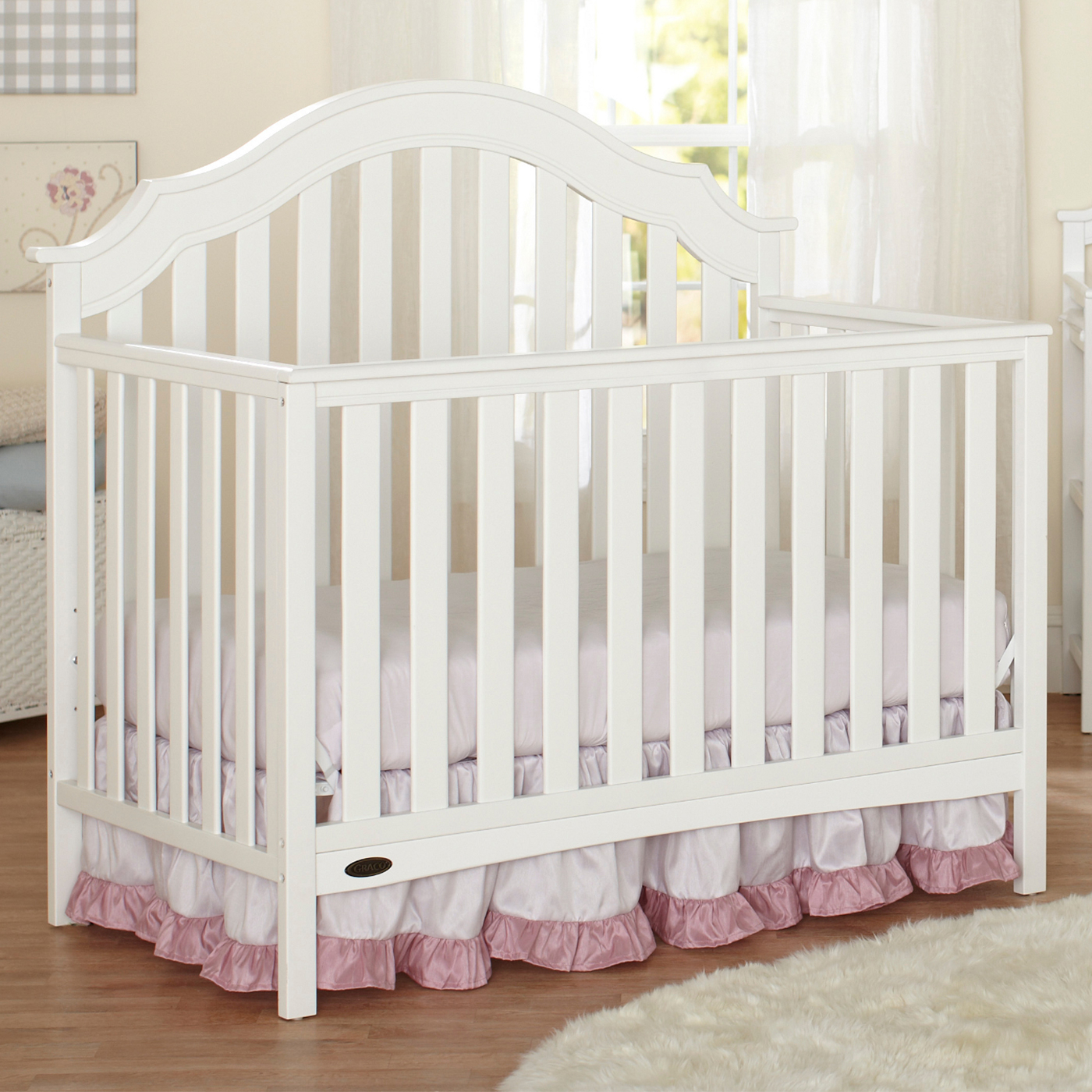 Graco Cribs Addison 4 In 1 Convertible Crib With Mattress In White FREE  SHIPPING