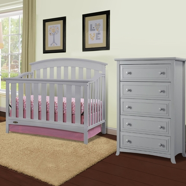 Graco Cribs Arlington 2 Piece Nursery Set Convertible Crib And Auburn 5 Drawer Dresser In