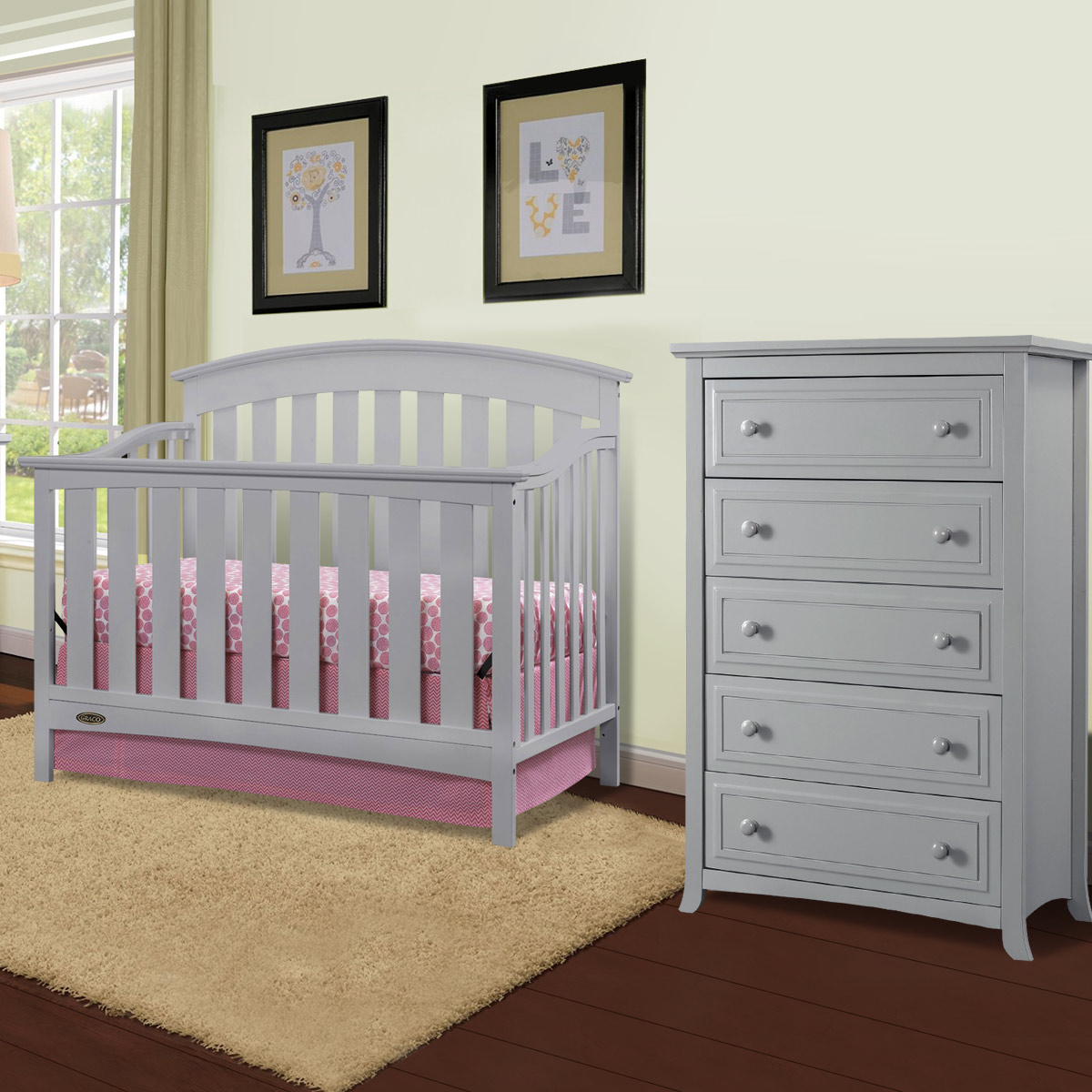 Graco Cribs Arlington 2 Piece Nursery Set Convertible Crib And