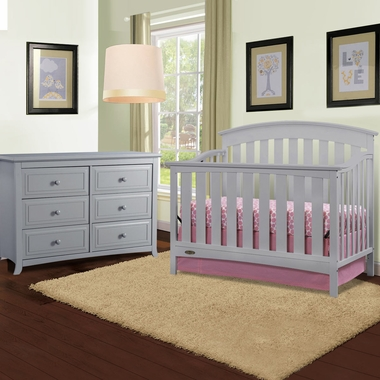 Graco Cribs Arlington 2 Piece Nursery Set Convertible Crib And Auburn 6 Drawer Dresser In