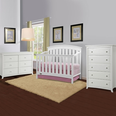 Graco Cribs Arlington 3 Piece Nursery Set Convertible Crib Auburn 5 Drawer Dresser And