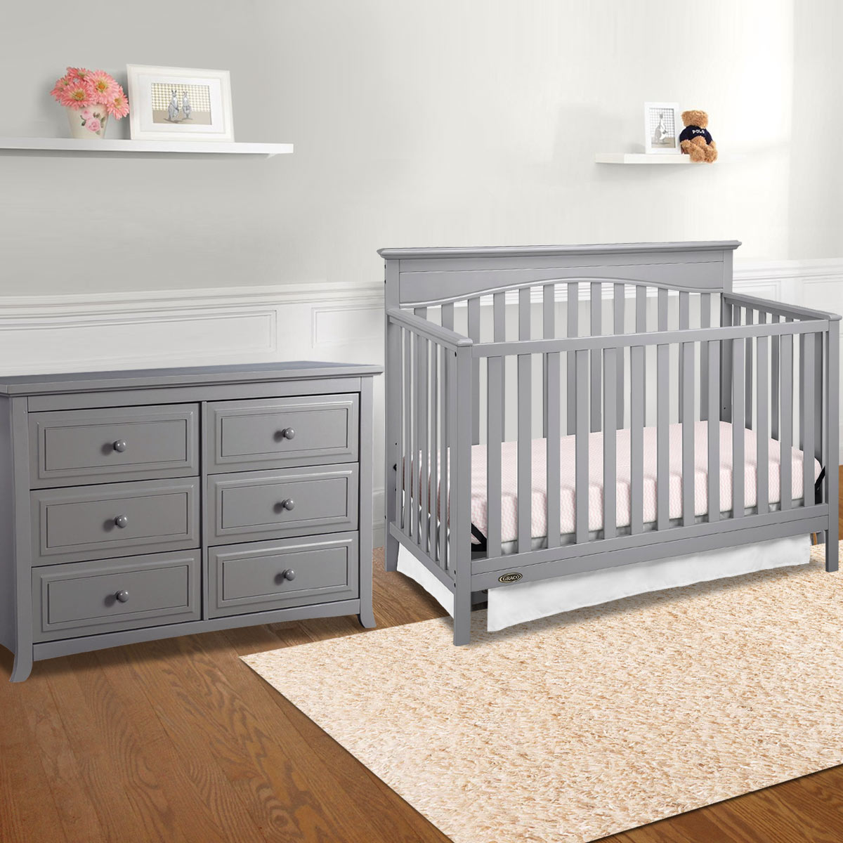 Graco Cribs Hayden 2 Piece Nursery Set 4 In 1 Convertible Crib And Auburn 6 Drawer Dresser Pebble Gray Free Shipping