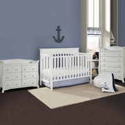 Graco Cribs Lauren 3 Piece Nursery Set - 4-in-1 Convertible Crib, Avalon 5 Drawer and 6 Drawer Dresser in White
