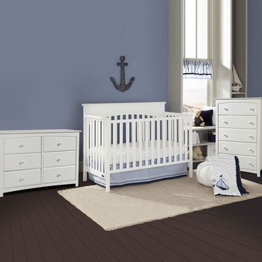 Graco Cribs Lauren 3 Piece Nursery Set - 4-in-1 Convertible Crib, Kenton 5 Drawer and 6 Drawer Dresser in White - Click to enlarge