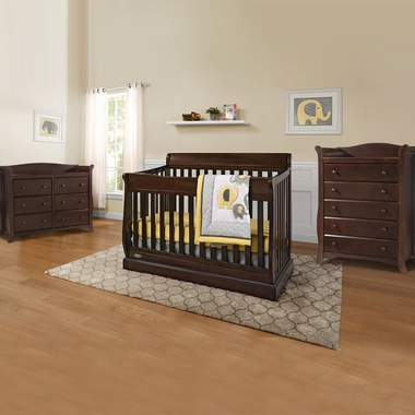 Graco Cribs Maple Ridge 3 Piece Nursery Set 4 In 1 Convertible Crib Avalon 5 Drawer And 6 Dresser Espresso