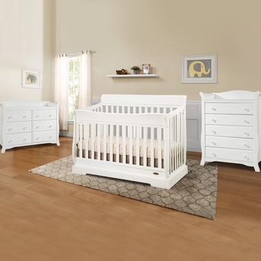 Graco Cribs Maple Ridge 3 Piece Nursery Set 4 In 1 Convertible Crib Avalon 5 Drawer And 6 Dresser White