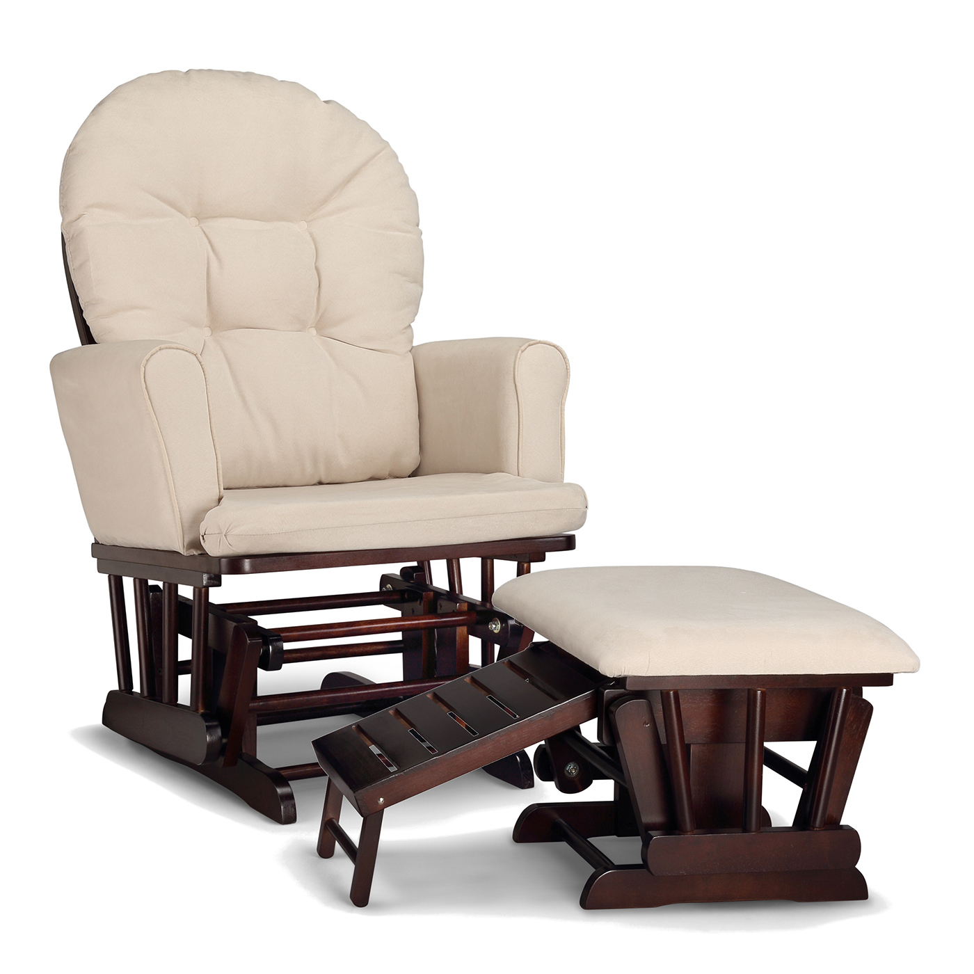 Graco Cribs Parker Semi Upholstered Glider And Nursing Ottoman In Espresso  With Beige Cushions FREE SHIPPING