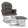 Graco Cribs Parker Semi-Upholstered Glider and Nursing Ottoman in White with Gray Cushions