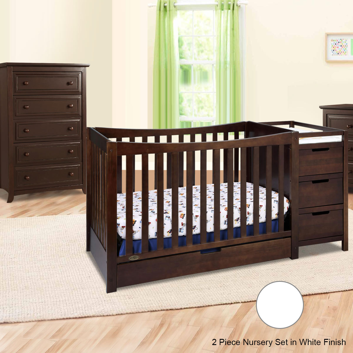 Graco Cribs Remi 3 Piece Nursery Set 4 In 1 Convertible Crib And Changer Auburn 5 Drawer Dresser White Free Shipping