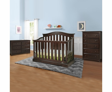 Graco Cribs Westbrook 3 Piece Nursery Set - 4-in-1 Convertible Crib, Kenton 5 Drawer and 6 Drawer Dresser in Espresso