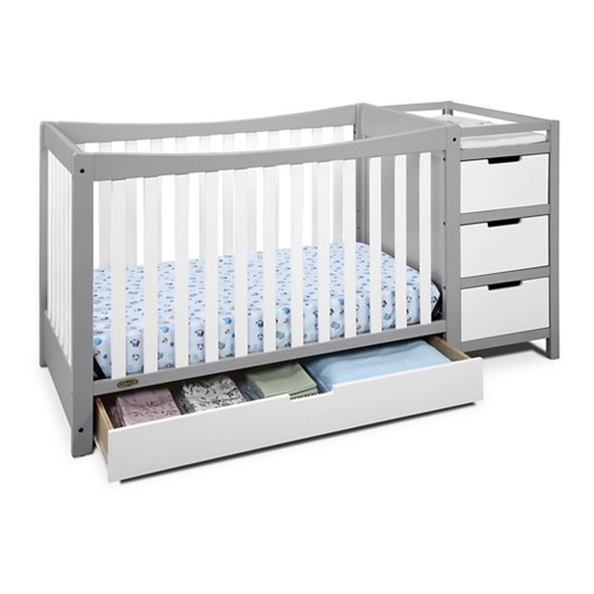 Graco Remi 4in1 Convertible Crib and Changer in WhitePebble