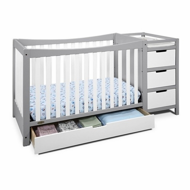 Graco Cribs Remi 4 In 1 Convertible Crib And Changer In White/Pebble