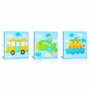 Green Frog All Aboard Canvas Gallery Wrapped Art 3 Piece Set