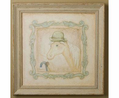 Green Frog Art Chester (horse) Vintage Animals on Parade Series Print Framed