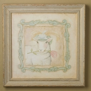 Green Frog Art Louise (lamb) Vintage Animals on Parade Series Print Framed