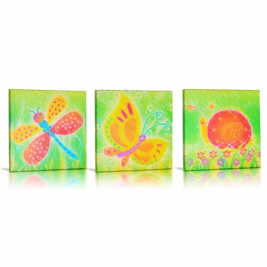 Green Frog Friendly Critters Canvas Gallery Wrapped Art 3 Piece Set