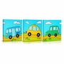 Green Frog Going Places Canvas Gallery Wrapped Art 3 Piece Set
