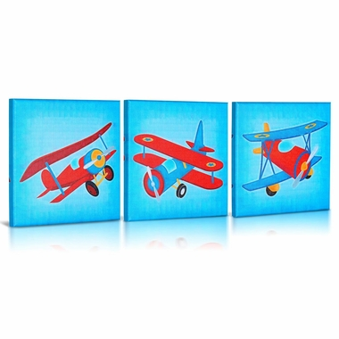 Green Frog Lets Fly Canvas Gallery Wrapped Art 3 Piece Set