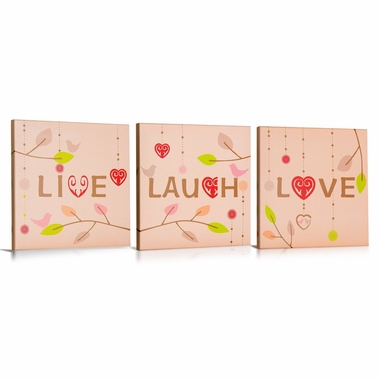 Green Frog Live Laugh Love Canvas Gallery Wrapped Art 3 Piece Set