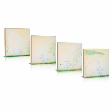 Green Frog Safari Playmates Canvas Gallery Wrapped Art 4 Piece Set