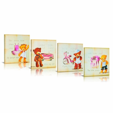 Green Frog Smart Bear Canvas Gallery Wrapped Art 4 Piece Set