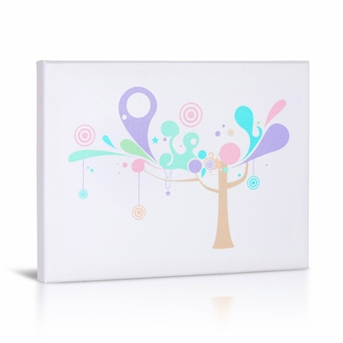 Green Frog Tree and Shapes 1 Canvas Gallery Wrapped Art