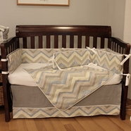 Hoohobbers Chevron Blue 4 Piece Crib Bedding Set