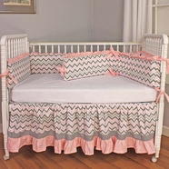 Hoohobbers Chevron Pink 4 Piece Crib Bedding Set