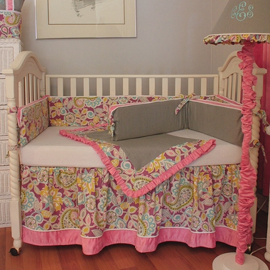 Hoohobbers Flirty Flowers Pink 4 Piece Crib Bedding Set