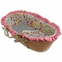 Hoohobbers Flirty Flowers Pink Ruffled Moses Basket
