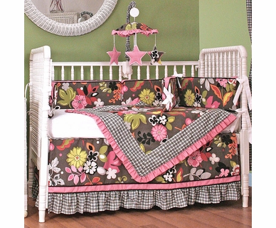 Hoohobbers Sleek Slate 4 Piece Crib Bedding Set