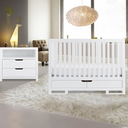 Karla Dubois 2 Piece Nursery Set - Copenhagen Convertible Crib and Oslo 2 Drawer Dresser in Pure White